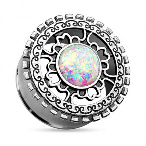 Ohr Tunnel Plug Antik Silber IP Tribal Ornament Opal Rainbow