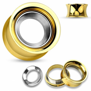 Flesh Ohr Tunnel Gold IP mit Ring Inlay silbern