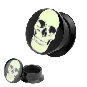 Flesh Tunnel Logo Plug Glow in the Dark Totenkopf