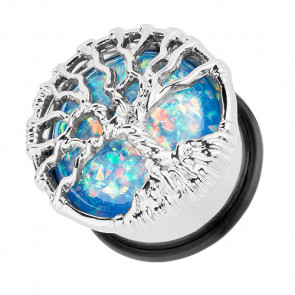 Ohr Tunnel Plug Single Flared Lebensbaum mit Opal Blau