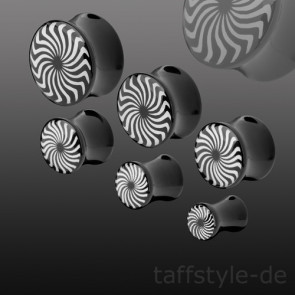 Flesh Plug Double Flared Schwarz Swirl Wirbel