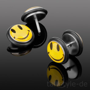 Fake Plug Piercing Ohrstecker Smiley Gelb