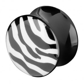Flesh Plug Double Flared Zebra Muster