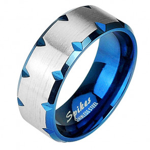 Edelstahl Tribal Cut Band Ring Partnerring Blau