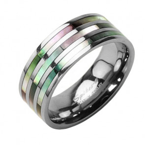 Titan Wedding Trau Ring Triple Perlmutt Inlay