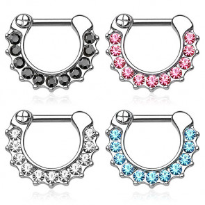 Nasenpiercing Ring Septum Clicker Bar Spikes und Kristalle