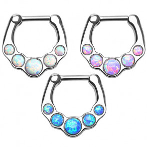 Piercing Septum Clicker Nasenpiercing Ring 5 Opal Steine