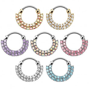 Nasenpiercing Ring Doppel Strass Kristall Septum Clicker Schild