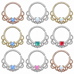 Septum Piercing Continuous Universal Ring Tribal mit Opal