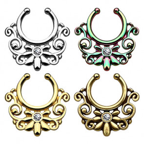 Fake Septum Piercing Ring Nasenpiercing Blumen Tribal